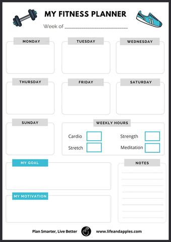 graphic relating to Fitness Planner Printable known as Conditioning Planner - Printable Daily life Apples
