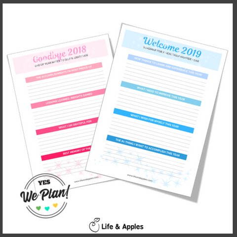 free printable life and apples - new year