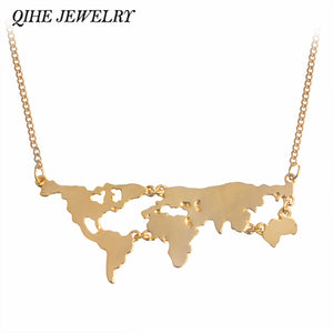 QIHE JEWELRY Gold Silver Black 3Color Globe World Map Pendant Necklace Personality Teacher Student Gifts Earth Jewelry Wholesale