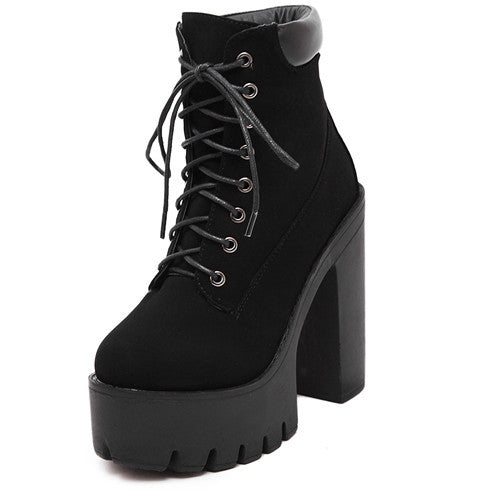 Gdgydh Fashion Spring Autumn Platform Ankle Boots Women Lace Up Thick Heel Martin Boots Ladies Worker Boots Black Size 35-39