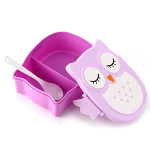 food container Owl Portable Bento Lunch Box Plastic Cute Cartoon Food Fruit Storage Container