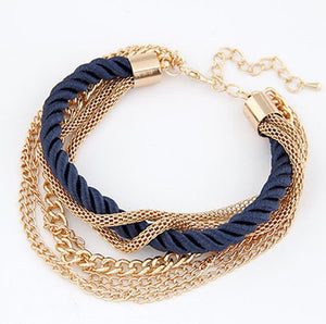 Free Shipping Bohemian Temperament Woven Gold Color Chain Braided Rope Multilayer Bracelet Women Jewelry Accessories