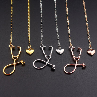 3 Colors Rose Gold/Gold/Silver Stethoscope Nurse Doctor Necklace