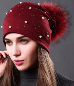 Fashion Rhinestones Pearl Hat With Natural Raccoon Fur