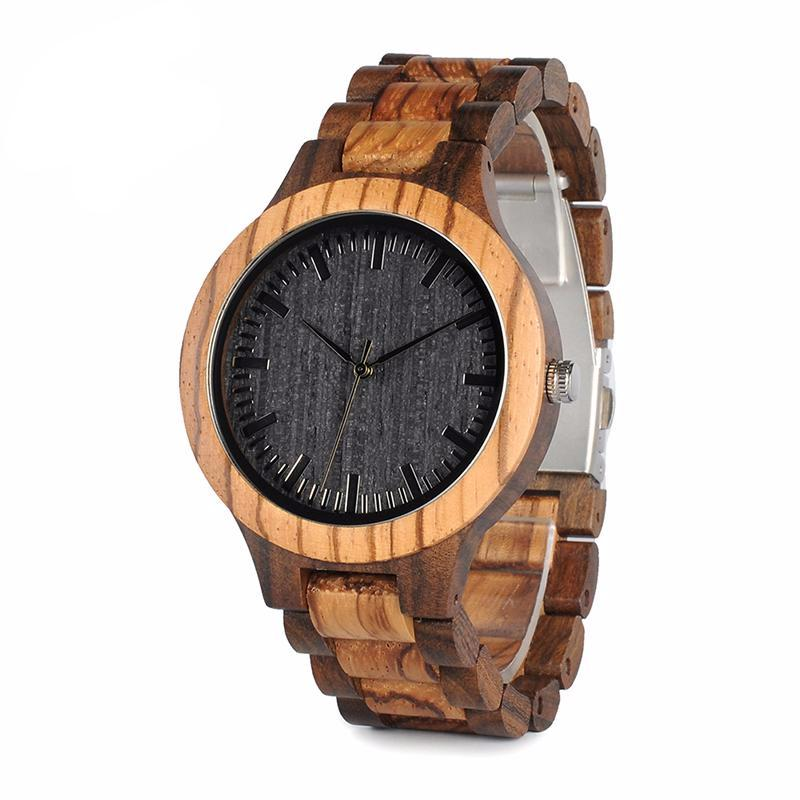 NEW Round Vintage Zebra Wood Case Men Watch With Ebony Bamboo Wood Face With Zebra Bamboo Wood Strap