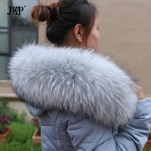 Natural Real Raccoon Fur Collar