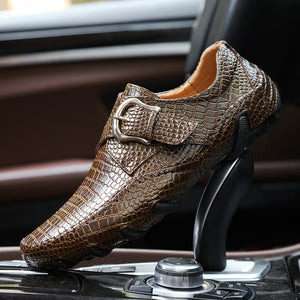 Men Casual Shoes Genuine Leather Driving Shoes Crocodile Texture Men's Flats Shoes