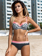 Sexy Striped Swimwear Push Up Bikini Plus Size Swimsuit