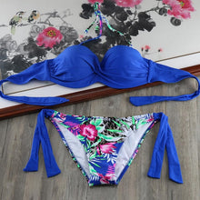 Solid Strappy Bandage Bikinis Set Push Up Bandeau