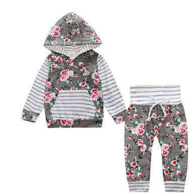 New Baby Boy And Girl Long Sleeve Hooded Tops Floral pants