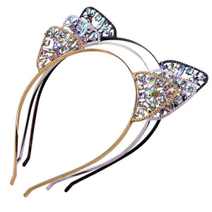 Cat Ears Headband With Crystals, Girls Crown Rhinestone