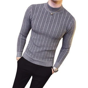 Pullover Casual Sweater With Stripe Solid Color Comfortable Men Half Turtleneck Slim Knitted top