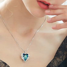 Luxury Crystals from Swarovski Necklaces Zircon Blue Rhinestone Heart