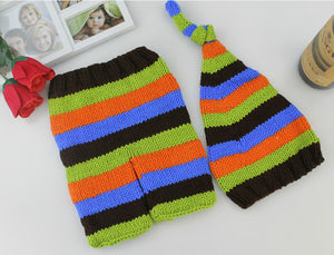 New born Photography Props Accessories Crochet Knit Costume Baby Hats+Pants Set