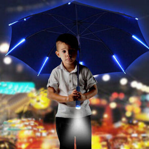 Unique Unisex LED Light Umbrella Flashlight Rain Night Protection