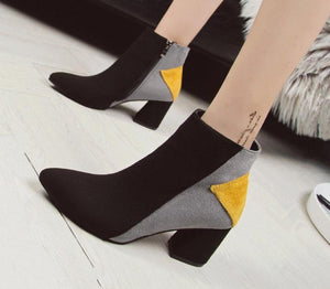 Thick Heels Pointed Ankle Boots With Unic Mixed Colors Design