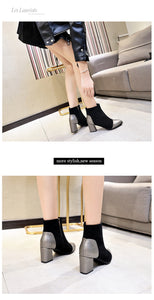 Autumn Winter New Women Boots Pointed Toe Square Heel
