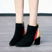 New Arrival Mixed Colors Ankle Boots With Thick Heels