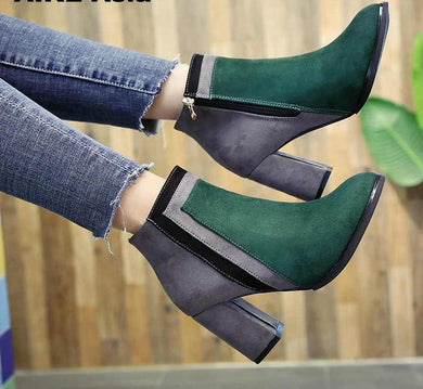 New Arrival Unique Mixed Colors Ankle Boots With Thick Heels