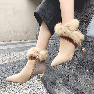 Fashion High Heels Sexy Fur Ankle Boots