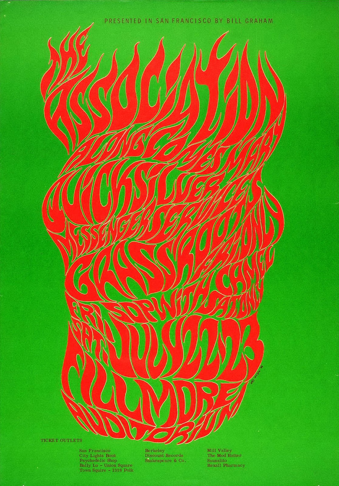 Wes Wilson red on green poster