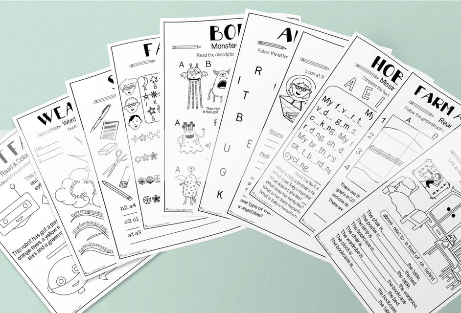 Over 500 English ESL Activity Worksheets for Kids