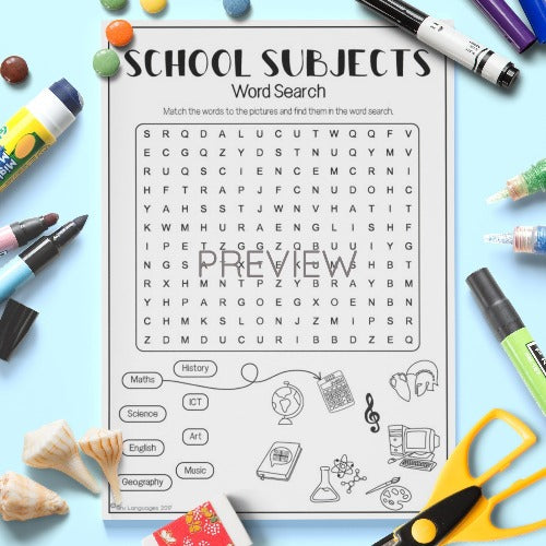 ESL English Kids School Subjects Word Search Worksheet