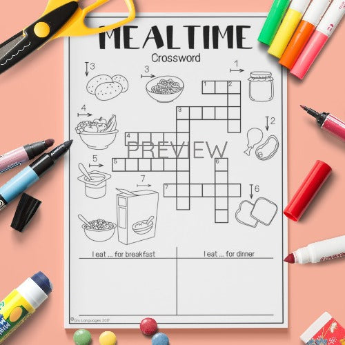 ESL English Kids Mealtime Crossword Worksheet