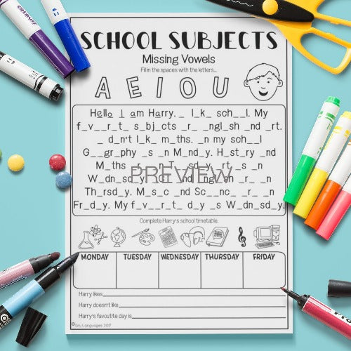 ESL English Kids School Subjects Missing Vowels Worksheet