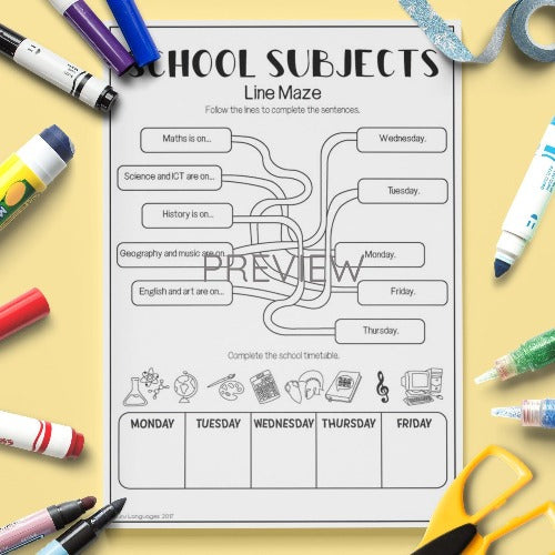 ESL English Kids School Subjects Maze Worksheet