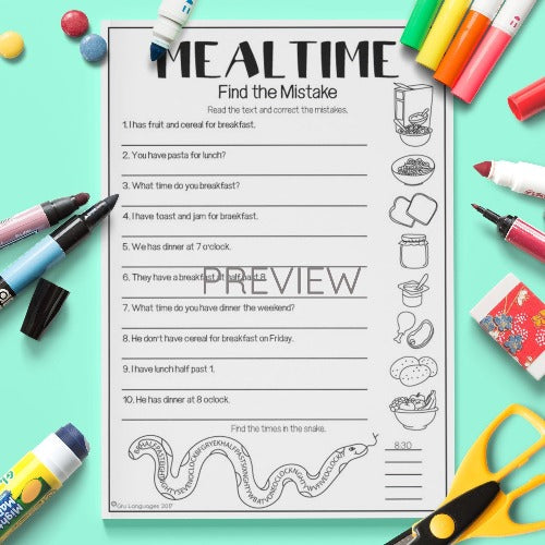 ESL English Kids Mealtime Find The Mistakes Worksheet