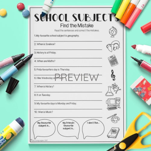 ESL English Kids School Subjects Find The Mistake Worksheet