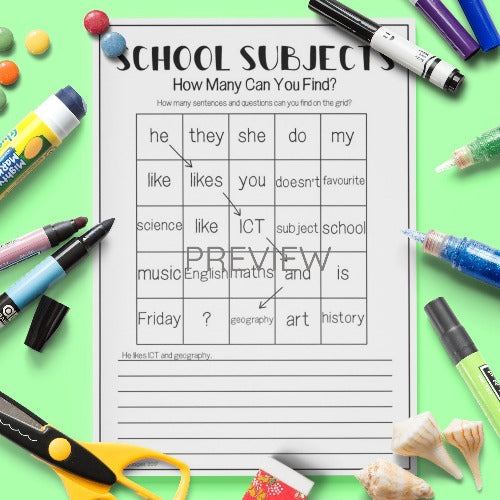 ESL English Kids School Subjects Word Grid Worksheet
