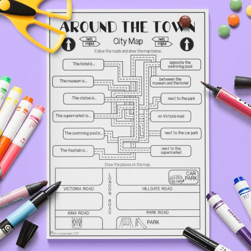 ESL English Kids Around the Town City Map Worksheet