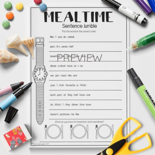 ESL English Kids Mealtime Sentence Jumble Worksheet