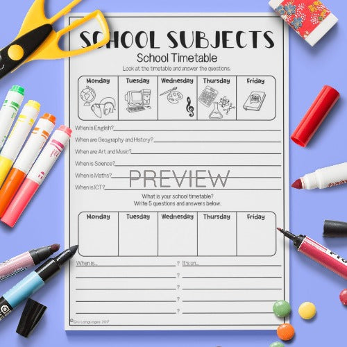 ESL English Kids School Subjects Timetable Worksheet