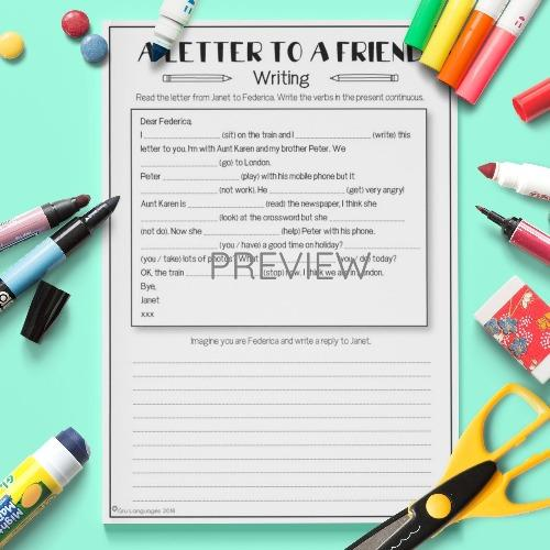 ESL English Kids A Letter To A Friend Activity Worksheet