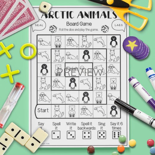 ESL English Arctic Animals Board Game Activity Worksheet