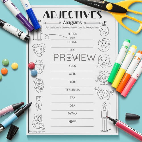 ESL English Kids Adjectives Anagram Activity Worksheet