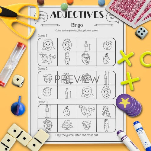 ESL English Kids Adjectives Bingo Game Worksheet