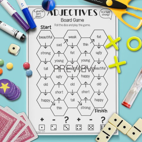 ESL English Kids Adjectives Board Game
