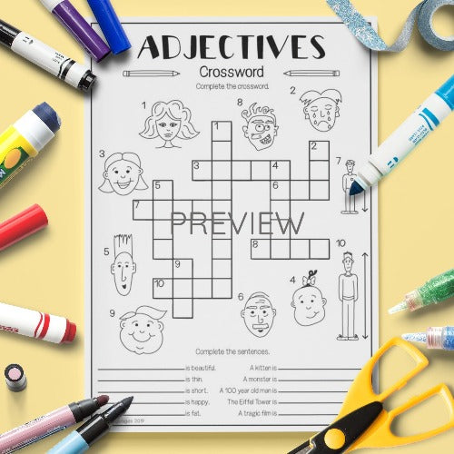 ESL English Kids Adjectives Crossword Activity Worksheet