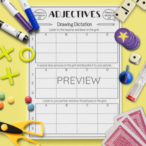 ESL English Kids Adjectives Drawing Dictation Activity Worksheet