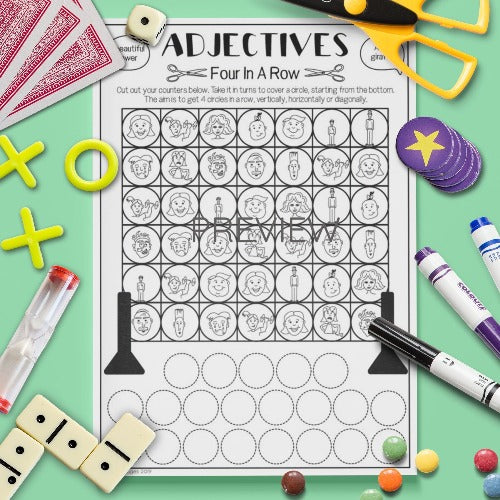 ESL English Kids Adjectives Four in a Row Speaking Game