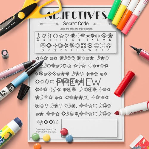 ESL English Kids Adjectives Secret Code Activity Worksheet