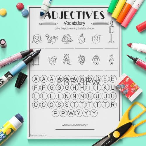 ESL English Kids Adjectives Vocabulary Activity Worksheet
