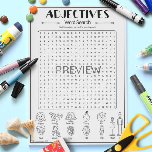 ESL English Kids Adjectives Word Search Activity Worksheet