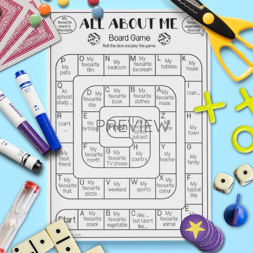 All About Me Board Game Worksheet