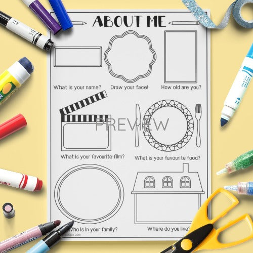 All About Me Drawing Activity Worksheet