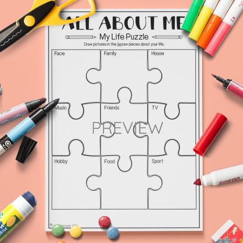 All About Me Puzzle Activity Worksheet